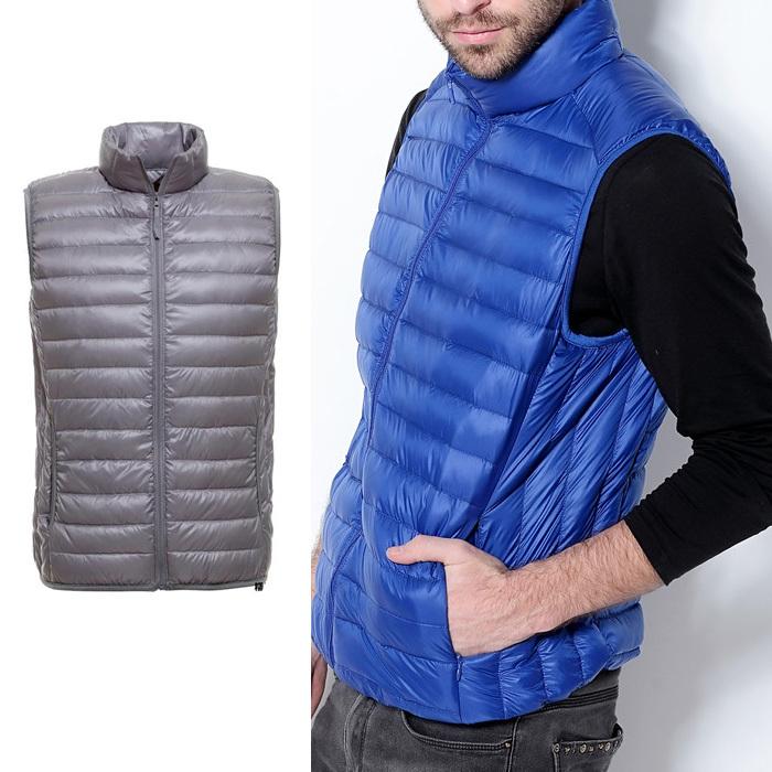 men vest stand collar fashion zipper winter jacket men's coat sleeveless parka - VICSEE International Apparel Ltd store