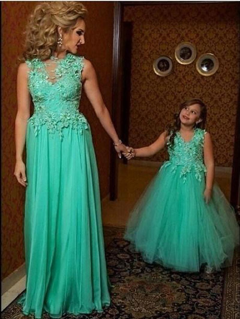 Vestidos baile envío rápido 2015 envío gratis Vestidos de Formatura Longo verde de la madre hija