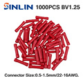 1000pcs lot BV1 25 22 16AWG Insulated Straight Wire Butt Connector Electrical Crimp Terminals 4mm 6mm