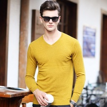 100% Wool New 2016 sweater men V-neck long sleeve casual mens sweaters brand clothing sweater mens plus size M-XXXL cardigan man(China (Mainland))