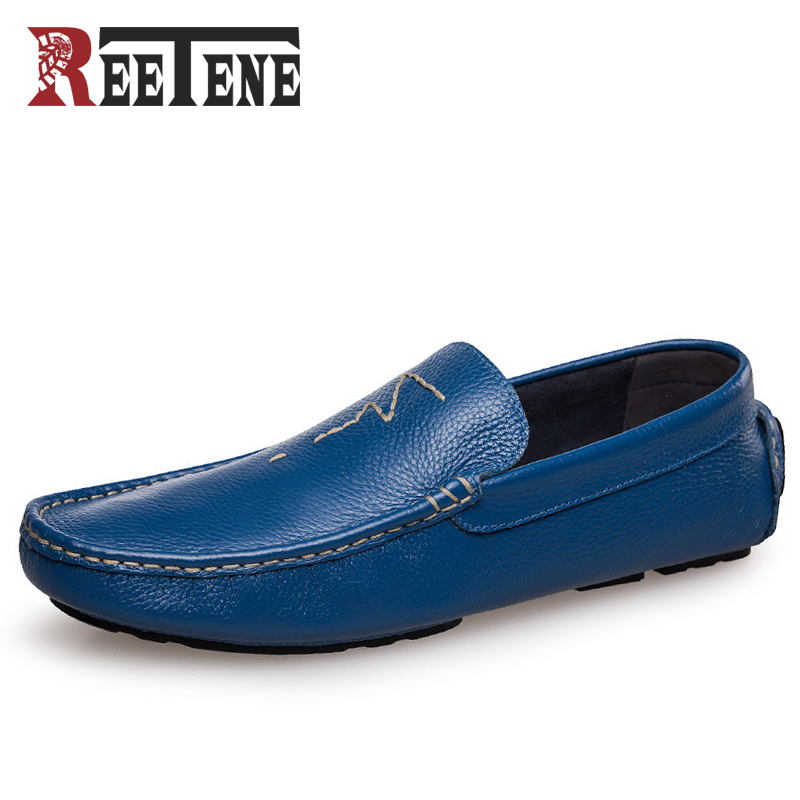 Genuine Leather Loafer Shoes Men Slip Casual Shoe Breathable,Loafer Causal Fashion Flats - REETENE store