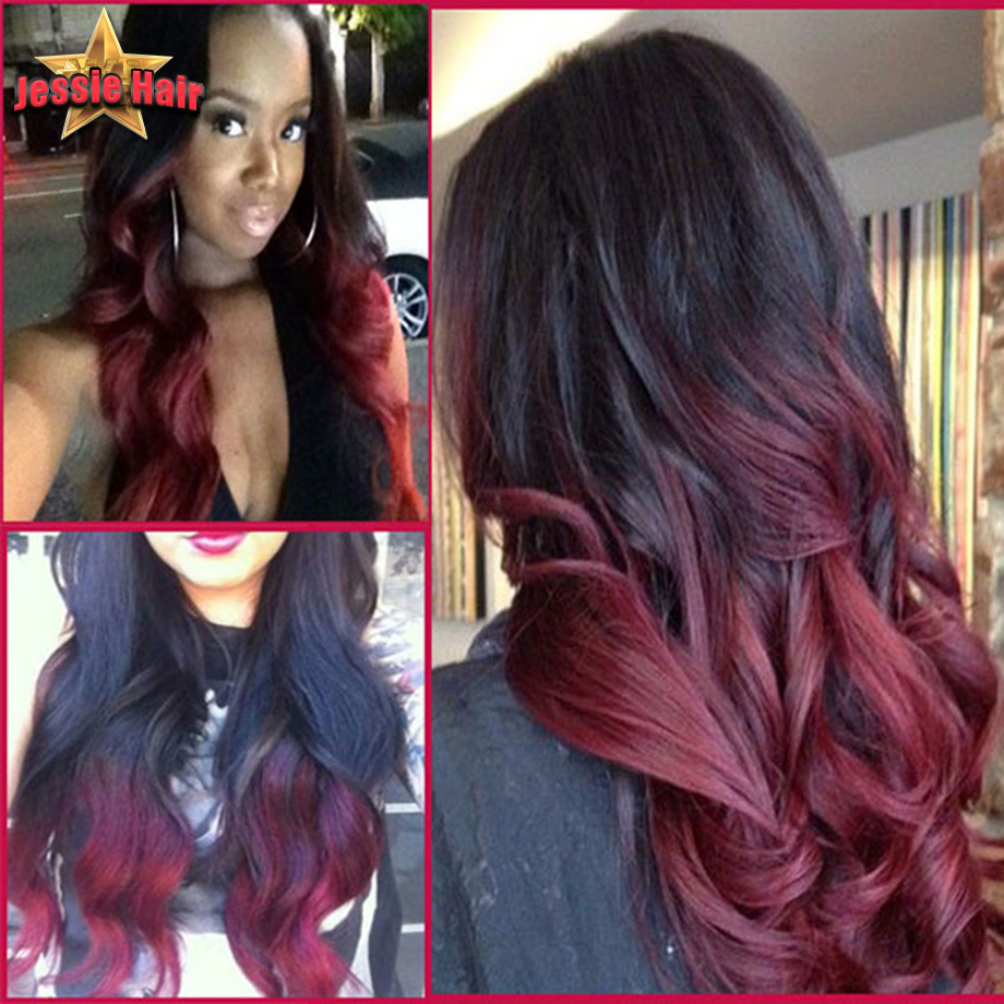 Ombre full lace wigs human hair glueless front lace wig two tone black burgundy ombre full lace - Ombre hair marron ...