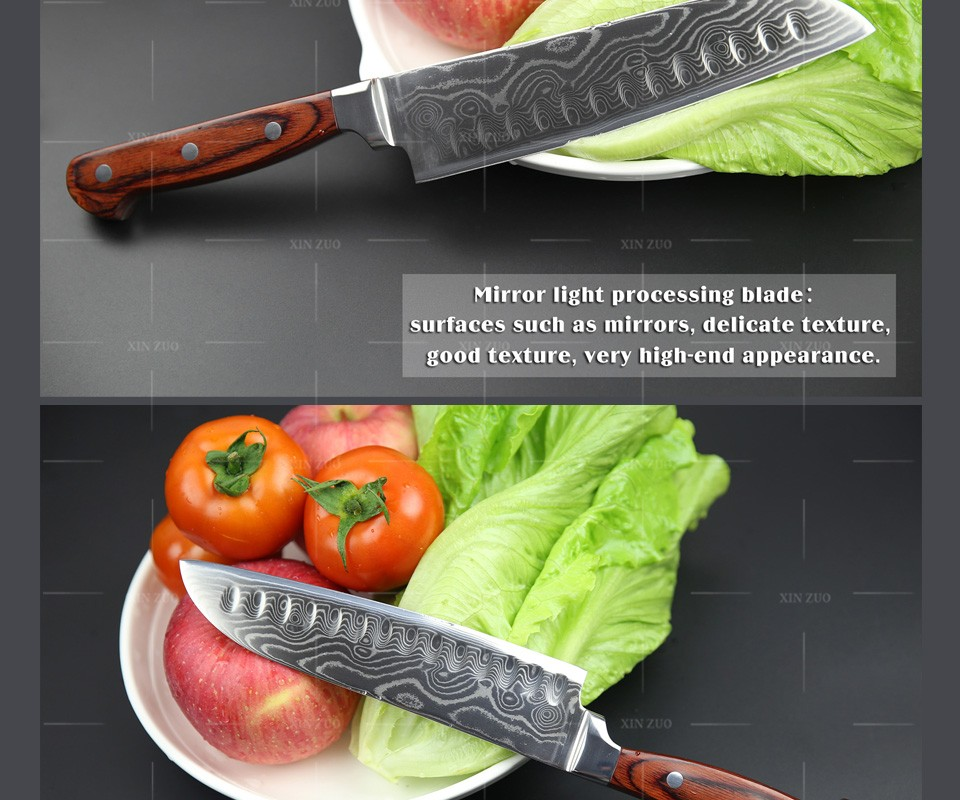 "Buy XINZUO high quality 7"" inch Japanese chef knife knife set Damascus kitchen knife santoku knifecolor wood handle free shipping cheap"