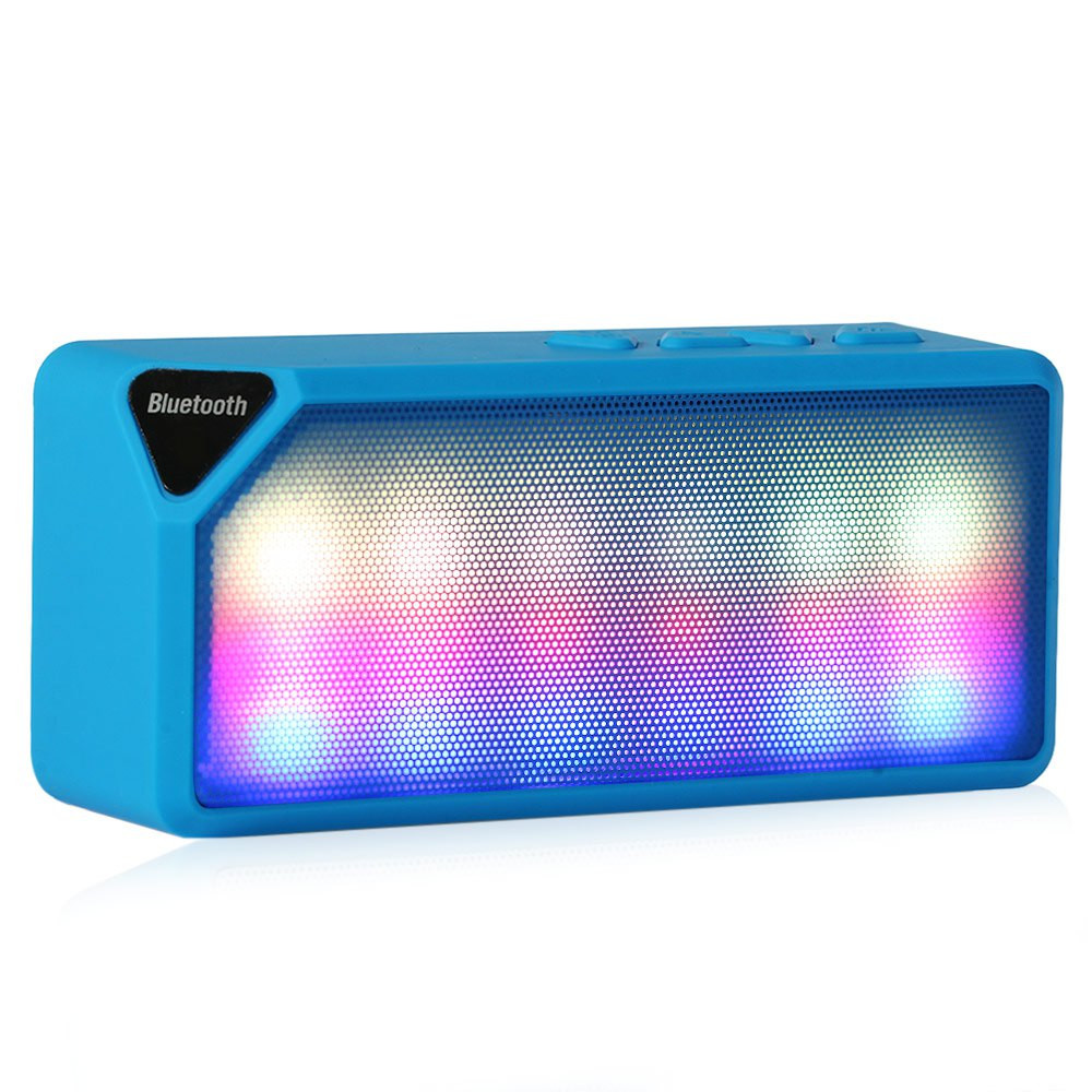 X3S Mini Multi-Color Flash LED Light Wireless Bluetooth Speaker with Built-in Microphone Support USB AUX FM Radio TF Card(China (Mainland))