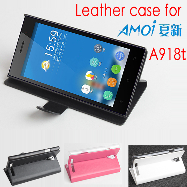 For Amoi A918t Retro Protective Phone Bag PU Leather Flip Shell Stand Holder Back Cover Wallet