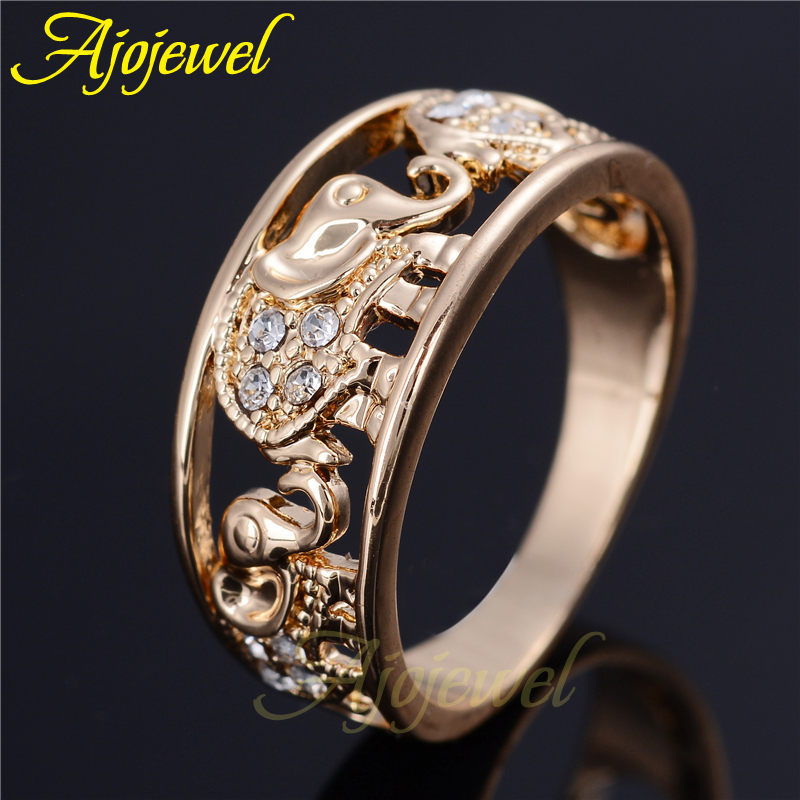 Size 6-8.5 Ajojewel Brand 14K Gold Plated Elgant Clear Crystal Elephant Animal Rings For Women(China (Mainland))