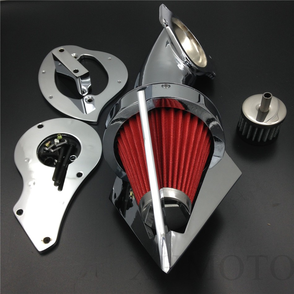 Aftermarket free shipping motorcycle parts Cone Spike Air Cleaner Kits for  Honda Shadow 600 VLX600 VLX 1999-2012 Chrome