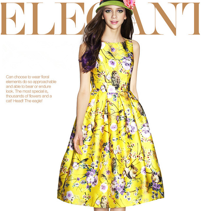 Spring&Summer 2015 Runway Dress Women High Quality Dresses European Style Ladies Elegant Yellow/print Flower Print Vest Dress(China (Mainland))