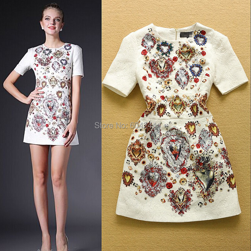 Fashion Summer 2015 European American quality print Heavy beaded cotton jacquard temperament Slim Dress - online store 604244