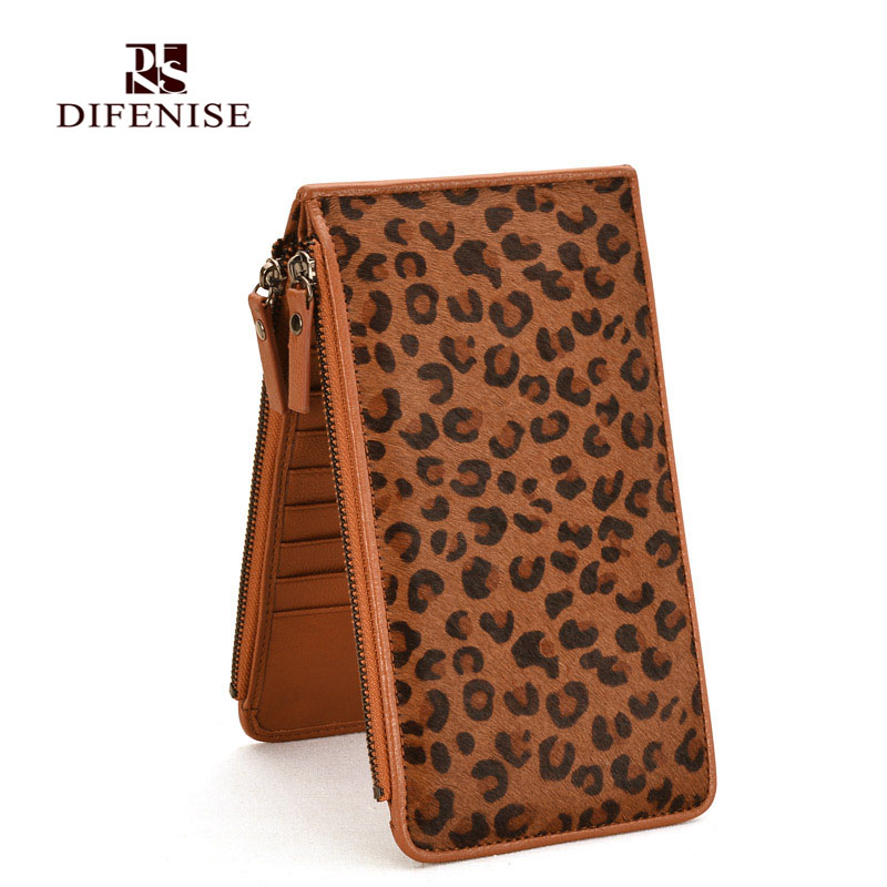 Difenise 100% Genuine Leather With Animal Horse Hair Designer Women Long Wallet Leopard Pattern Female Clutch Card Purse Wallets(China (Mainland))
