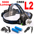 Super bright 5000LM 12W CREE XML L2 LED Headlamp LED Headlight 18650 flashlight head light led