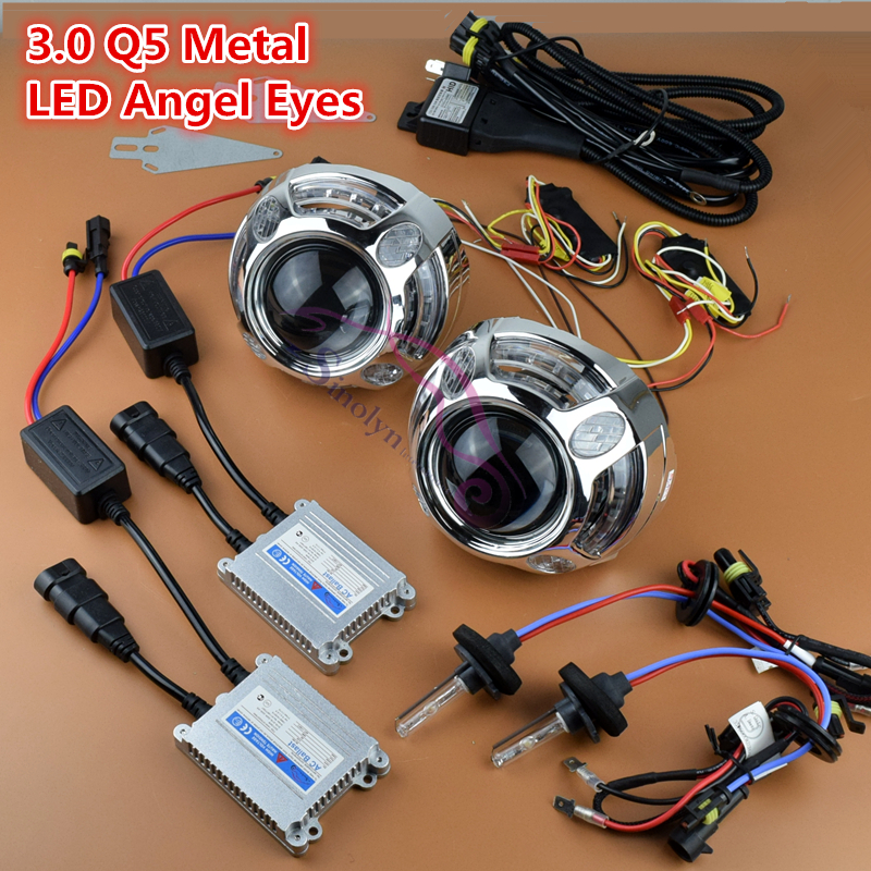 Premium Metal HID 3.0 inch Bi xenon Lens Projector Headlight LED DRL Angel Eyes Turn Signal Lamp Full Kit H1 H4 H7 9005 9006