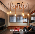 6 Heads American Village Retro Industrial Wind Rope Chandelier Creative Restaurant Bar Personality Decoration Lamp Free