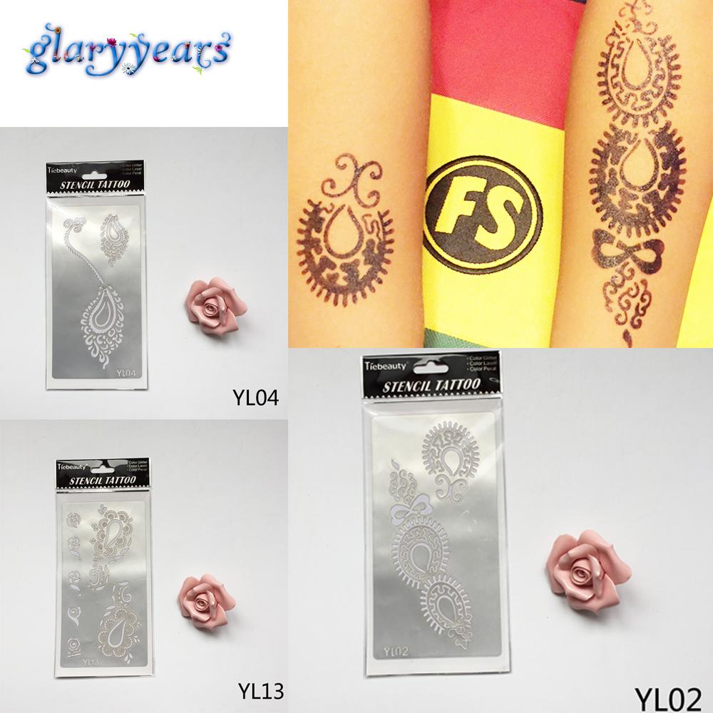 1 Sheet Fashion 13 Different Flowers Pattern Designs Hollow Henna Indian Tattoo Stencil Women Men Body Art Paint Tattoo Template