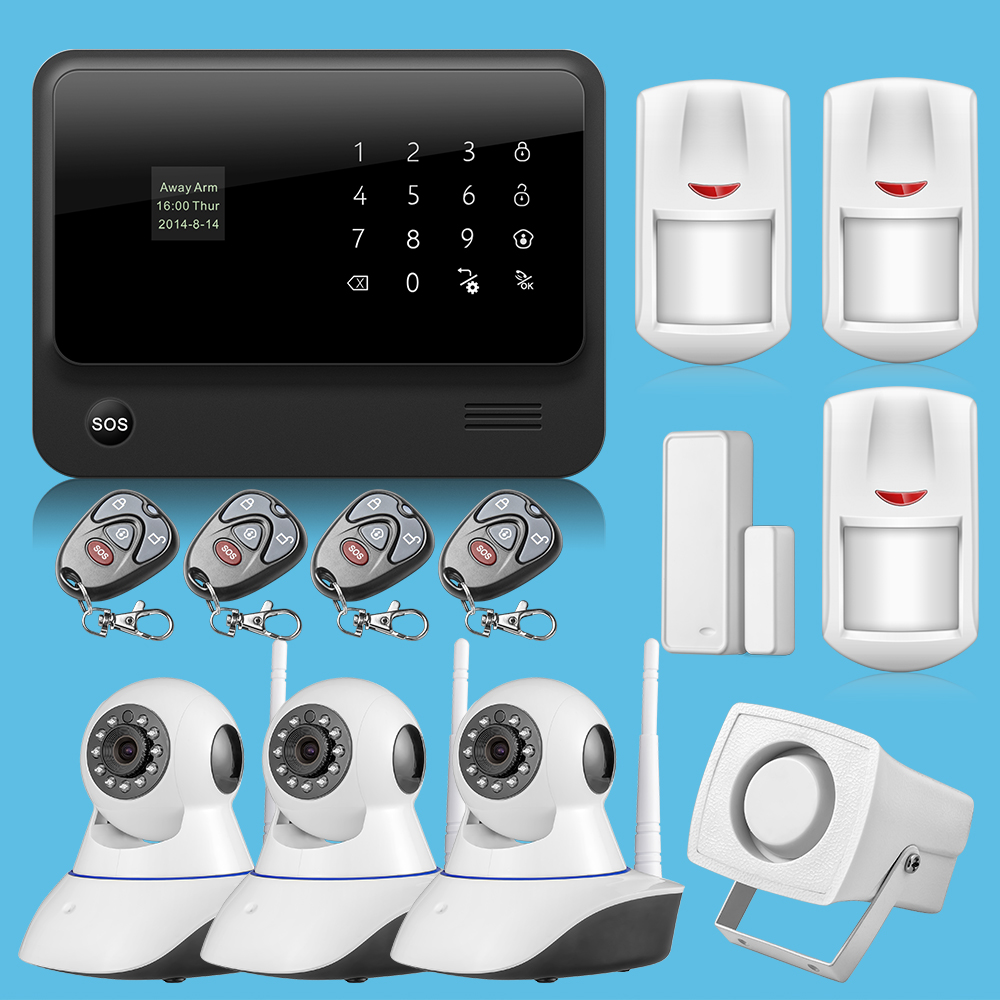 IOS & android APP Control Intercom Wireless GSM WIFI Alarm System Security Home Kits With English Russian Spanish language(China (Mainland))