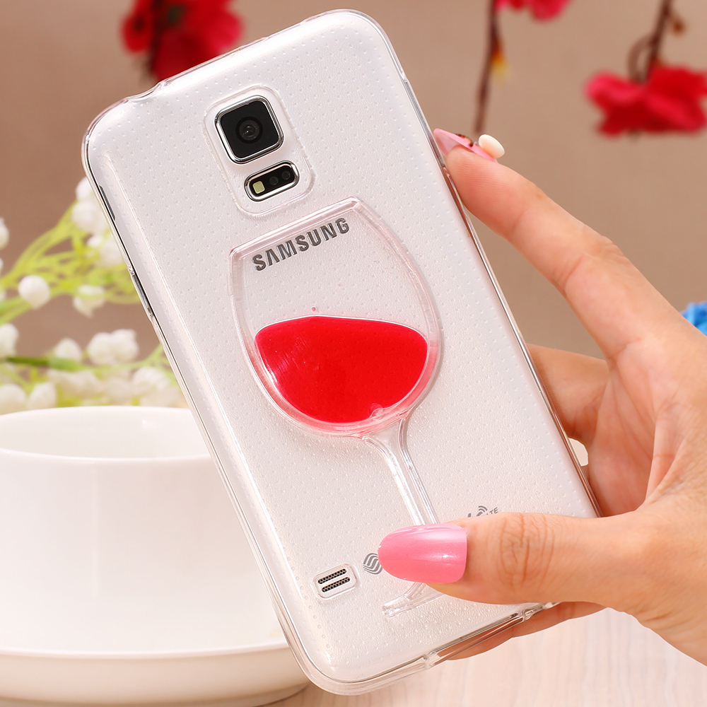 S5 S6 Luxury Red Wine Cup Liquid Transparent Case For Samsung Galaxy S5 I9600/ S6 / Note 3/ Note 4 Models Phone Cases Back Cover(China (Mainland))
