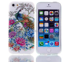 Peacock with bling crystal proof TPU Peacock with Bling FOR iPhone4 4s/5 5s , Free Shipping