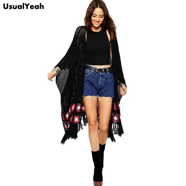 2015 женщины мода вязаный кардиган осень зима вязаные выдалбливают кисточкой свитер ...