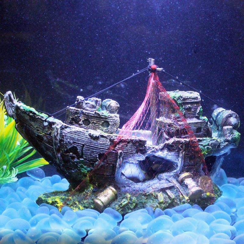 Fish tank decoration cave decor sailing boat shipwreck for Aquarium decoration ship