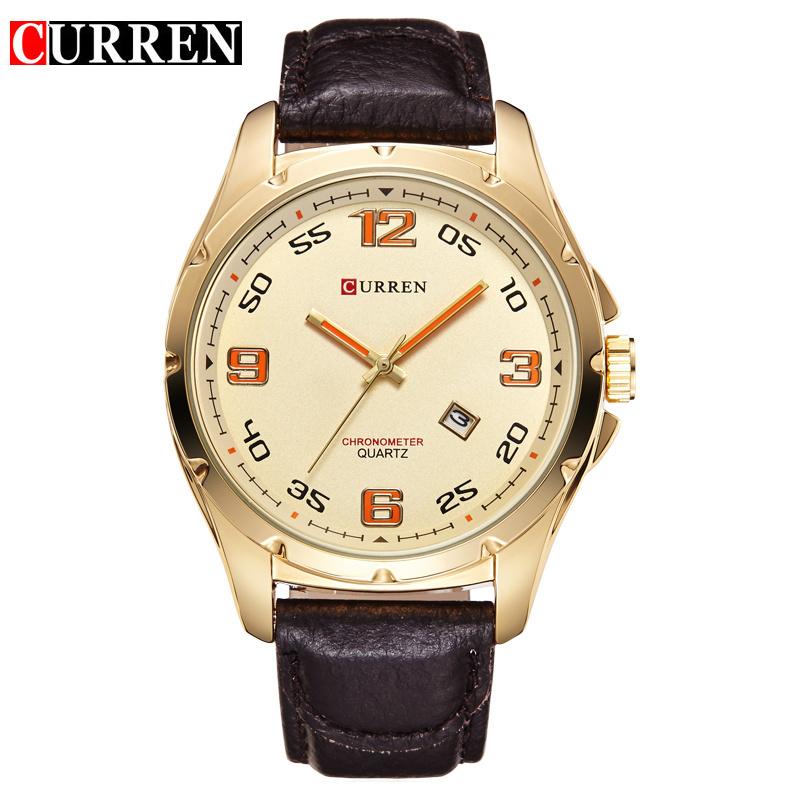Men's Casual Watches Curren 8121 Luxury Brand Quartz Watch Leather Strap Dress Wristwatches Gold Steel Case relogio masculino(China (Mainland))