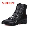 SUBERRY Brand Desgin Women Boots Black Soft Leather Boots Metal Buckle Strap Rivet Women Ankle Boots