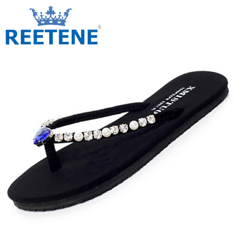 Women Flip Flops Shoes Heart Diamond Sandals Fashion Pearl Beads Pinch Slippers 2016 Tongs Chancletas - REETENE store