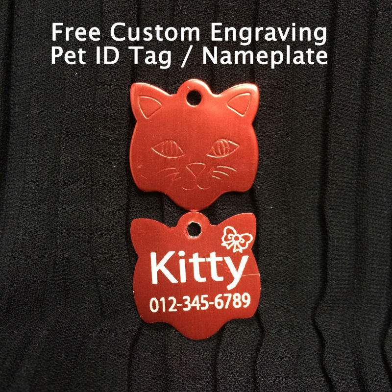 Free Shipping Lovely Kitten Head Aluminum Pet ID Tag Free Custom Engraved Dog Cat Personalized Nameplate Customized Medal(China (Mainland))
