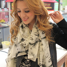 2012 ultra long scarf women's monroe print chiffon silk scarf(China (Mainland))
