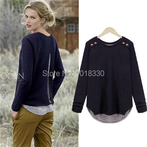 woman Casual Vestidos 2015 new Brand New Spring Knitted Sweater Women Plus Size Loose Long Sleeve Lady Navy Blue Pullovers - Simple Men store