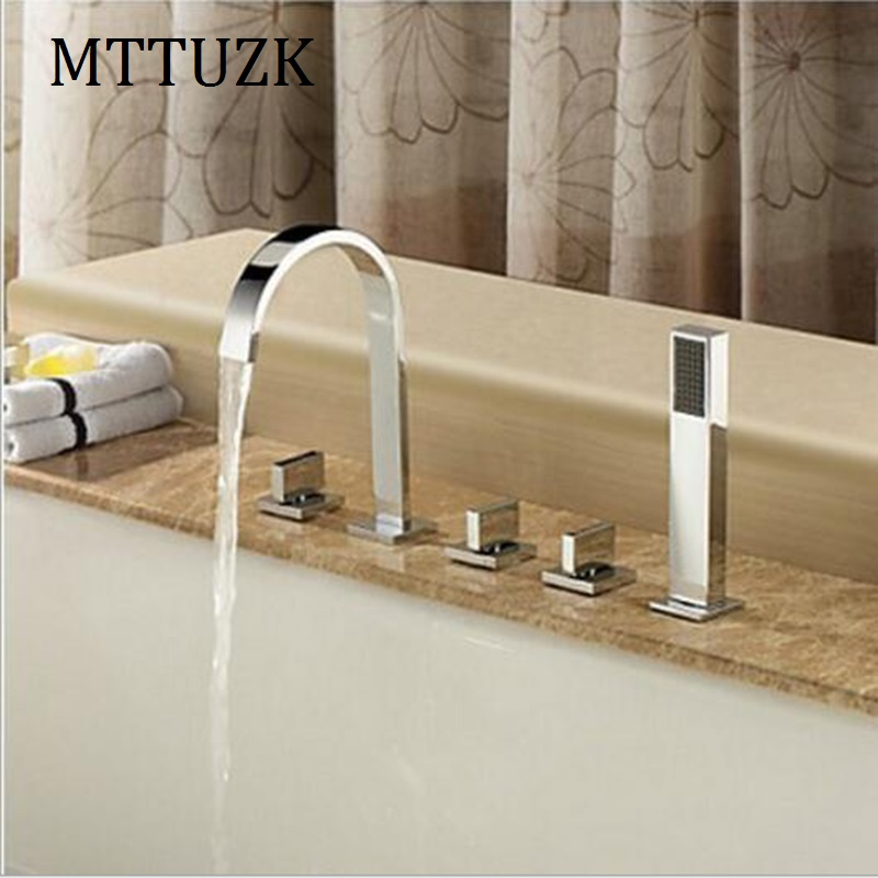MTTUZK Widespread Waterfall Roman Deck Mounted 5pcs Bath Tub Tap Faucet Set Combo Handheld Shower Torneira Tap Polished Chrome(China (Mainland))