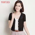 New spring and summer women s knit Sweater jacket hollow thin Sweater Cardigan short shirt