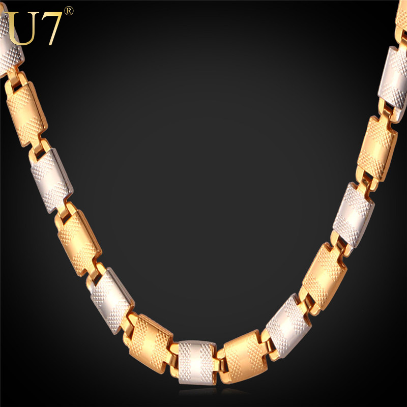 "U7 Two Tone Gold Men Necklace Trendy ""18K"" Stamp Platinum /18K Real Gold Plated 3 Size 5mm Wide Chain Necklace Men Jewelry N378(China (Mainland))"
