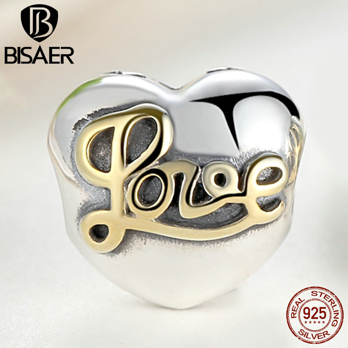 BISAER High Quality 925 Sterling Silver Love Heart Clip Charm Fit Pandora Original Bracelet DIY Beads Jewelry Making(China (Mainland))