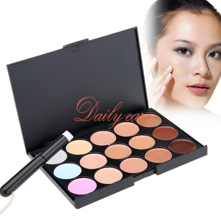 New Stylish Women's Makeup Cosmetics Tools Set 15 Colors Creamy Concealer Kit and 1 Brush(China (Mainland))
