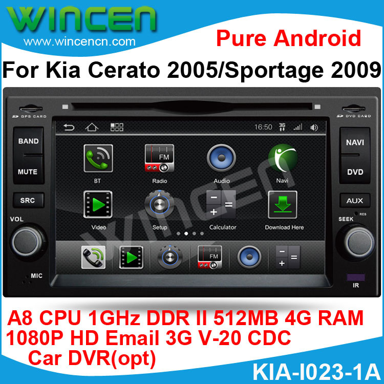Pure Android 1080p HD Car DVD GPS for Kia Cerato 2005 Sportage 2009 A8 chip1G CPU 512 DDR DSP sound-effects 7 parts digital EQ(China (Mainland))