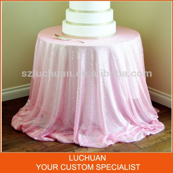 Newest Fashion Pink Sequins Wedding Party Tablecloth Round(China (Mainland))