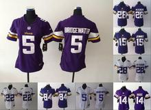 2016 Women Ladies Minnesota Vikings, 5 Teddy Bridgewater 28 Adrian Peterson 84 Cordarrelle Patterson,100% stitched logo(China (Mainland))