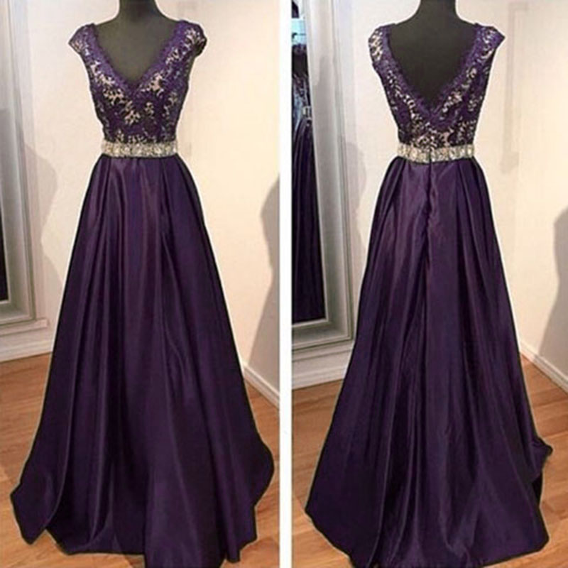 2016 Dark Purple Evening Dresses V Neck Beaded Evening ...