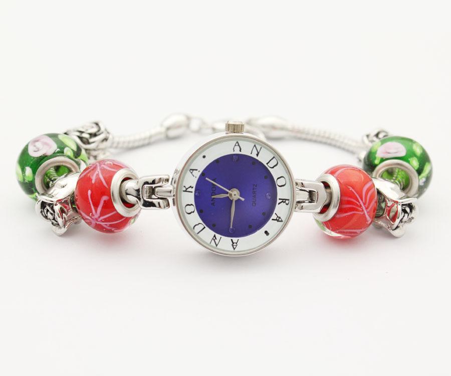 Free shipping women's fashion luxury brand watches dark blue DIY personality bracelet with rose quartz beads charm(China (Mainland))