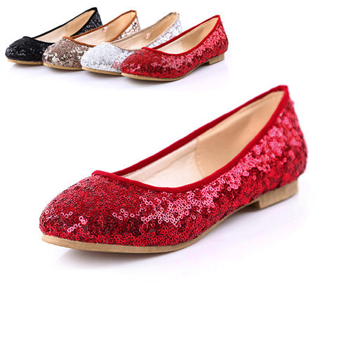 Flat Shoes Female Round Toe Flats Red Color Dance Shoes Flat Ballet Glitter Shoes Big size 9 10 ABA0B(China (Mainland))
