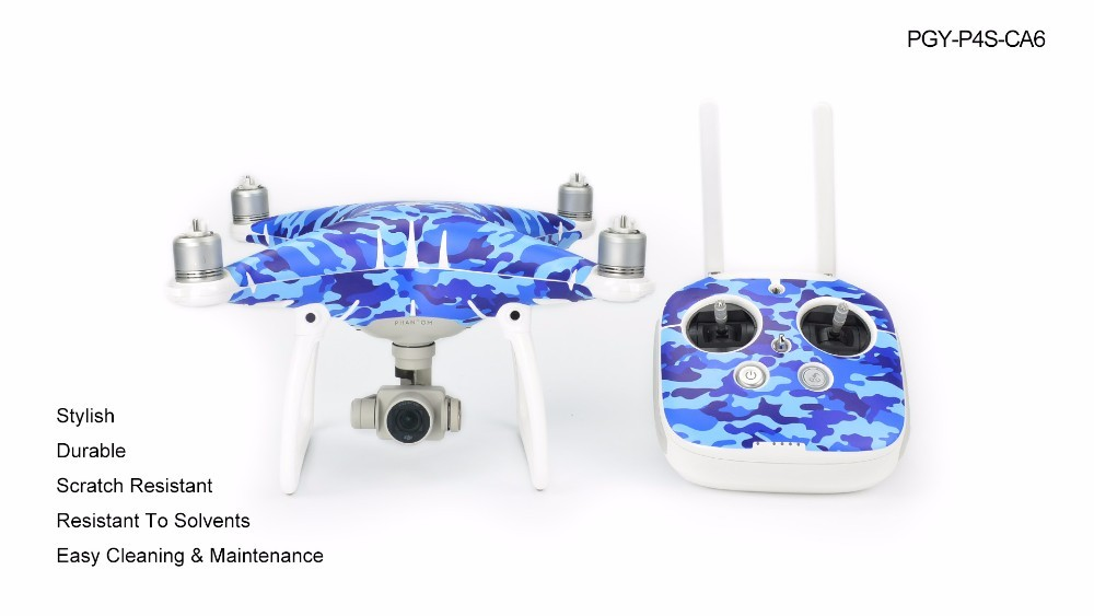 PGY DJI phantom 4 Blue ocean camouflage Stickers Skin Decal Camo Vinyl Wrap Sticker Camouflage drones Parts Accessoies Printed
