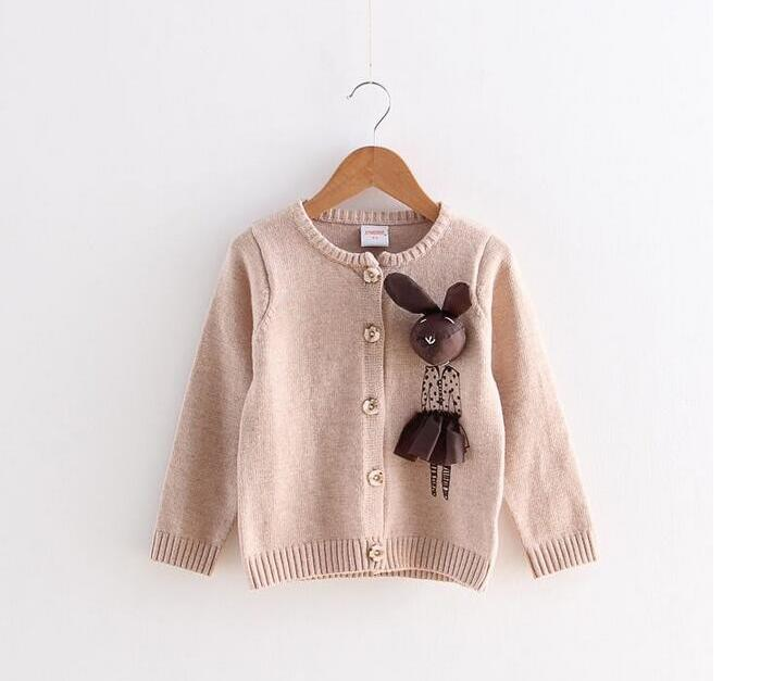 Y0828-41-149 Retail 2017 Spring Girl Cardigan Solid Single Breasted Appliques 3D Rabbit Girl Sweater Kintting Children's Clothes