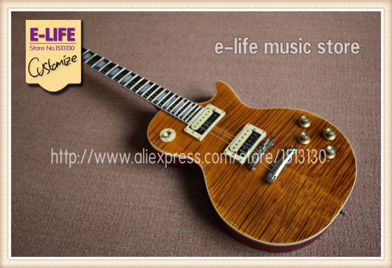 Hot Selling Best Price Brown Tiger Flame Slash Appetite LP Signature Guitar & Left Hand Available(China (Mainland))