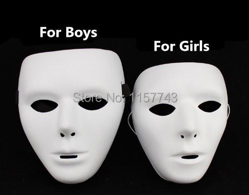 2PCS/LOT Bboy Whole Face PVC Plain Hip-hop JabbaWockeeZ White Mask Costume Party Cosplay Dance Crew 1 for man/1 for woman(China (Mainland))