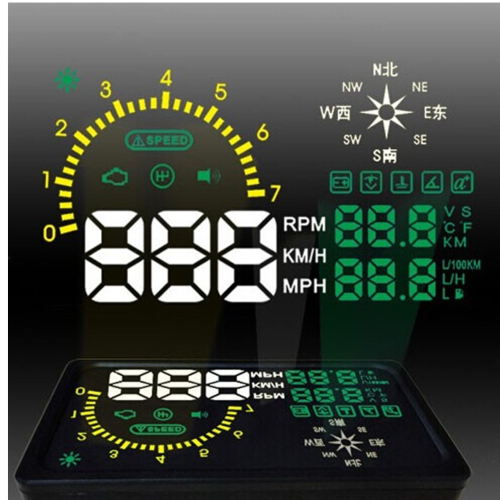 Vehicle-mounted 6 Inch i6 HUD Multi-color Multi-function OBD2 Overspeed Warning car Head Display KM Compass - WinsNovelty store
