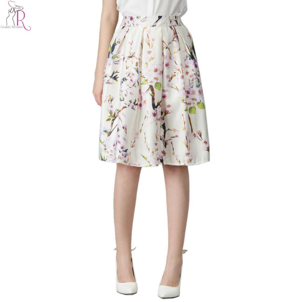 Women Sakura Floral Print Elastic High Waist Pleated Long Midi Skater Skirt 3 Colors White/Green/Black Stock 2016 Spring New - Charles Richards's store