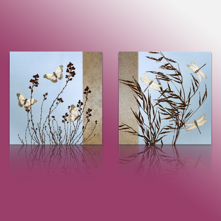 Outdoor Wall Decor Dragonfly : Piece floral painting decorative art set modern wall