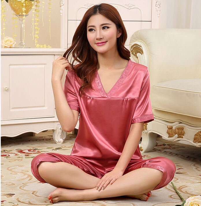 Spring Summer Fall Women Silk Pajamas Sets of Sleepshirt & Sleep Shorts Lady Nightdress Female Home Clothes Lover Sleepwear(China (Mainland))