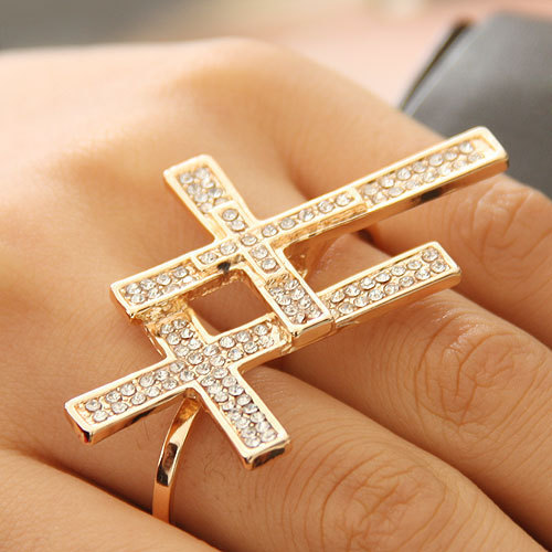 Supply the latest fashion cross with crystal stone double rings women Finger Ring
