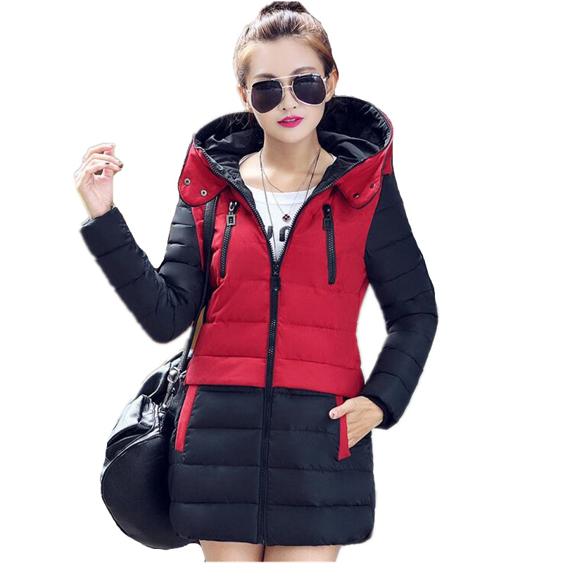 2015 New Fashion Winter Jacket Women Long Thick Slim Cotton-padded Jacket Parka Winter Coat Women Stitching Hooded Coat IF100